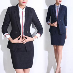 Pearlescent - Single-Button Blazer + Skirt / Pants
