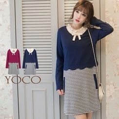 Tokyo Fashion - Mock Two-Piece Bow-Accent Dress
