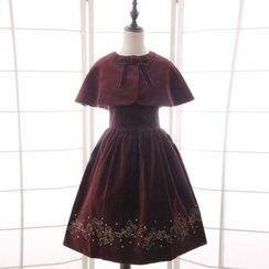 Reine - Set: Embroidered Sleeveless A-Line Dress + Capelet