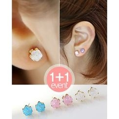 Miss21 Korea - Set of 2: Stud Earrings (12pcs)