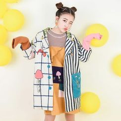 Moriville - Embroidered Color Block Mock Two-Piece Hooded Coat