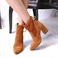 Pastel Pairs - Faux Suede Chunky Heel Ankle Boots