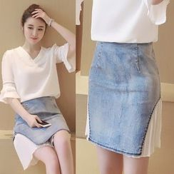Munai - Denim Chiffon Panel Skirt