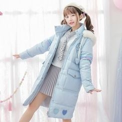 Moriville - Heart Applique Hooded Down Coat