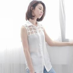 LULUS - Mesh-Yoke Sleeveless Blouse