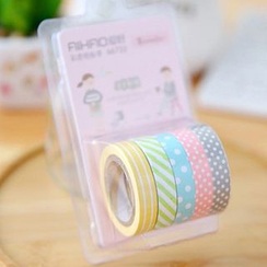 MissYou - Set of 5: Patterned Mini Washi Tape