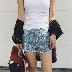 Shine On Me - Embroidered Fray Denim Shorts