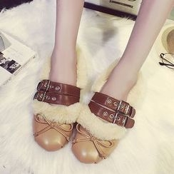 SouthBay Shoes - Furry Trim Buckled Flats