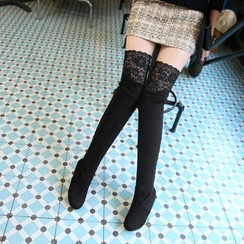JY Shoes - Lace Panel Over-the-Knee Boots