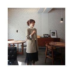 LEELIN - Open-Front Wool Blend Long Cardigan