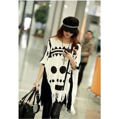 Dream Girl - Maternity Print Elbow Sleeve Fringed T-Shirt