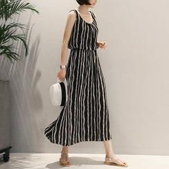 MayFair - Strappy Striped Midi Dress