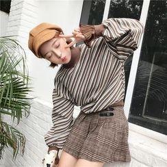Cattie - Stripe Mock-neck Sweatshirt
