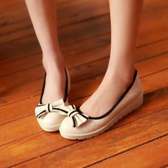 Pangmama - Bow-Accent Check Flats