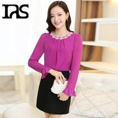 AiSun - Set: Crochet-Trim Shirred Front Chiffon Blouse + A-Line Skirt