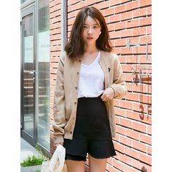 FROMBEGINNING - Asymmetric Ruffle-Hem Mini A-Line Skirt