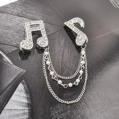 Trend Cool - Rhinestone Music Note Brooch