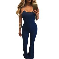 Merma - Spaghetti Strap Boot-cut Jumpsuit