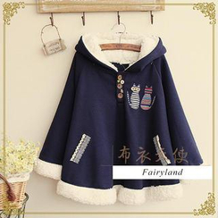 Fairyland - Cat Appliqué Fleece-Lined Hooded Cape