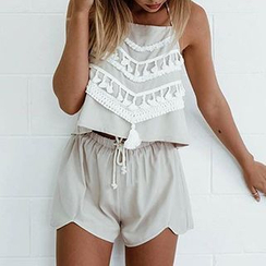 Aquello - Set: Lace Trim Tank Top + Shorts