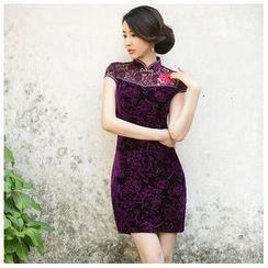 Janelle Qipao - 饰蕾丝短款旗袍