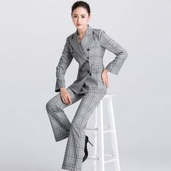 Eleganza - Set: Plaid Blazer + Straight Fit Pants
