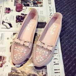 EMIL - 蝴蝶结缀饰平跟鞋