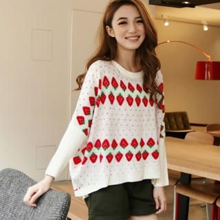 ASOBI - Strawberry-Pattern Sweater