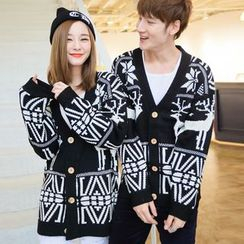 Bay Go Mall - Nordic Pattern Couple Matching Cardigan