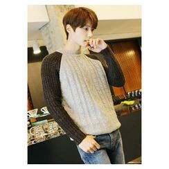HOTBOOM - Contrast Raglan-Sleeve Cable-Knit Sweater