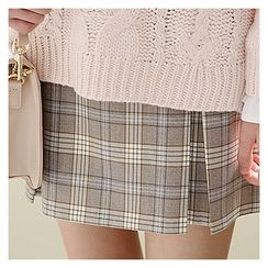 Sechuna - Band-Waist Plaid Mini A-Line Skirt