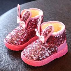 綠豆蛙童鞋 - 兒童兔耳亮片雪靴