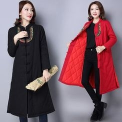 Diosa - Flower Embroidered Long Padded Coat