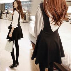 Lovebirds - Set: Long-Sleeve Blouse + A-Line Jumper Dress