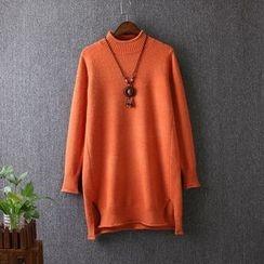 Blue Rose - Mock Neck Long Sweater