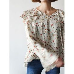 STYLEBYYAM - Floral Patterned Ruffle-Trim Top