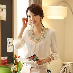Lovebirds - Long-Sleeve Lace-Neckline Pleated Chiffon Blouse