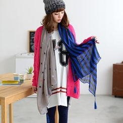 59 Seconds - Star-Print Tassel-Accent Scarf