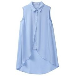 Sentubila - Dip Back Sleeveless Chiffon Blouse