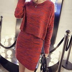 Cloud Nine - Set: Melange Knit Top + Skirt