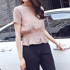 Romantica - Set: Short-Sleeve Peplum Top + Cropped Tapered Pants