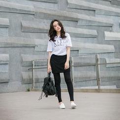 CatWorld - Inset Lace Skirt Leggings