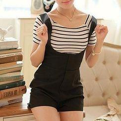 Fashion Street - Set: Striped T-Shirt + Jumper Shorts