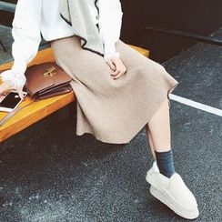MOODGIRL - Plain Midi Knit Skirt