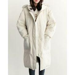 UPTOWNHOLIC - Hooded Duck-Down Long Jacket