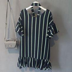 芷蓯夕 - 細條紋荷葉邊連衣裙