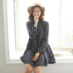 Envy Look - Mandarin-Collar Polka-Dot Shirtdress