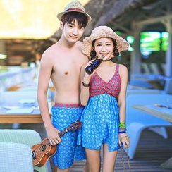 Little Dolphin - Couple Matching Color Block Swimdress / Swim Shorts