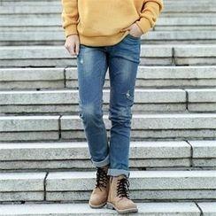 Smallman - Straight-Cut Distressed Jeans