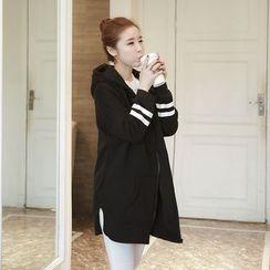 VIZZI - Printed Hooded Long Jacket